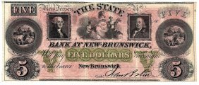 1800s $5 State Bank At New-brunswick Obsolete Currency