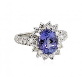 14kt White Gold 2.50ct Tanzanite And Diamond Ring