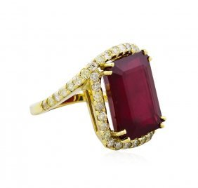 14kt Yellow Gold 18.68ct Ruby And Diamond Ring