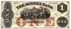 1800s $1 State Of New Jersey Sussex Bank Obsolete