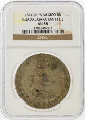 1821ga 8 Reales Fs Mexico Guadalajara Km-111.3 Coin Ngc