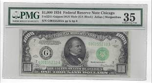 1934 $1000 Federal Reserve Bank Note Chicago Mule PMG
