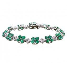 14kt White Gold 7.42ct Emerald And Diamond Bracelet