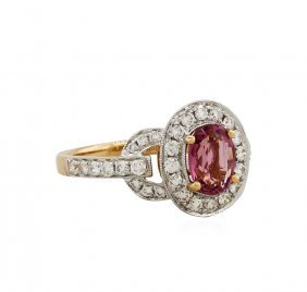 18kt Rose Gold 1.28ct Spinel And Diamond Ring