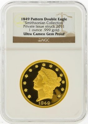 1849 Pattern Double Eagle Smithsonian Collection Gold