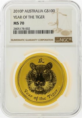 2010p $100 Australia Lunar Year Of The Tiger Gold Coin