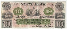 1800s $10 The State Bank At New Brunswick Obsolete Note