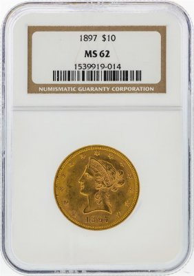 1897 $10 Liberty Head Eagle Gold Coin Ngc Graded Ms62