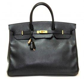 Authentic Vintage Hermes 40cm Birkin Bag In Black