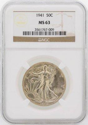 1941 Walking Liberty Half Dollar Silver Coin Ngc Ms63