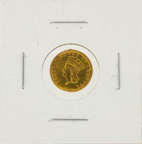 1857 $1 Indian Princess Head Type 3 Gold Coin