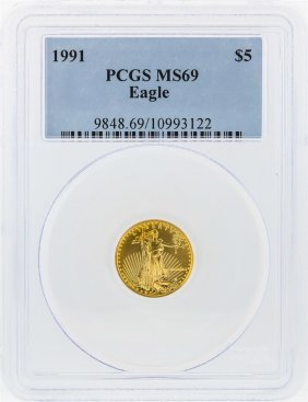 1991 $5 American Gold Eagle Coin Pcgs Graded Ms69