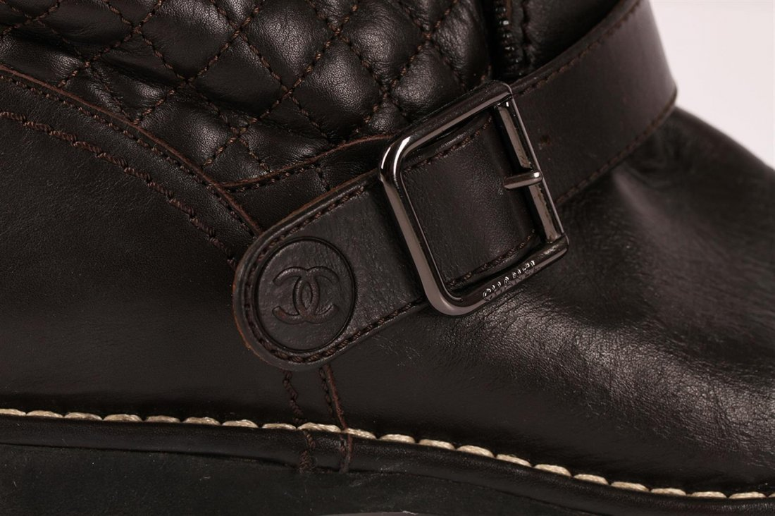 Authentic Chanel Quilted Brown Leather Motorcycle Boots - 3