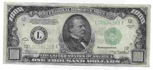 1934A $1000 Federal Reserve Bank Note San Francisco