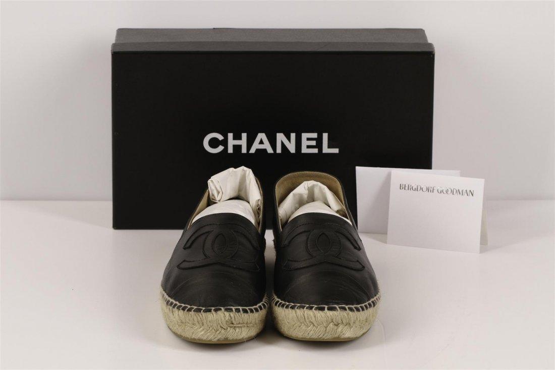 Authentic Chanel Espadrilles Flat Shoes Black Lambskin