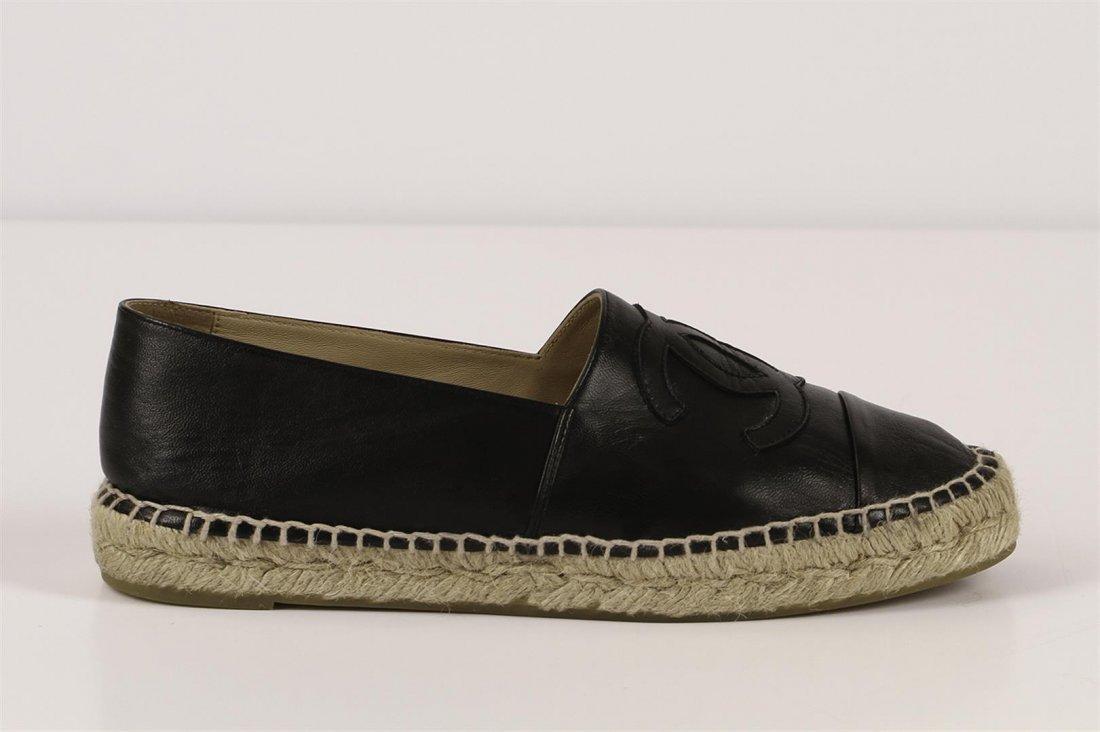 Authentic Chanel Espadrilles Flat Shoes Black Lambskin - 3