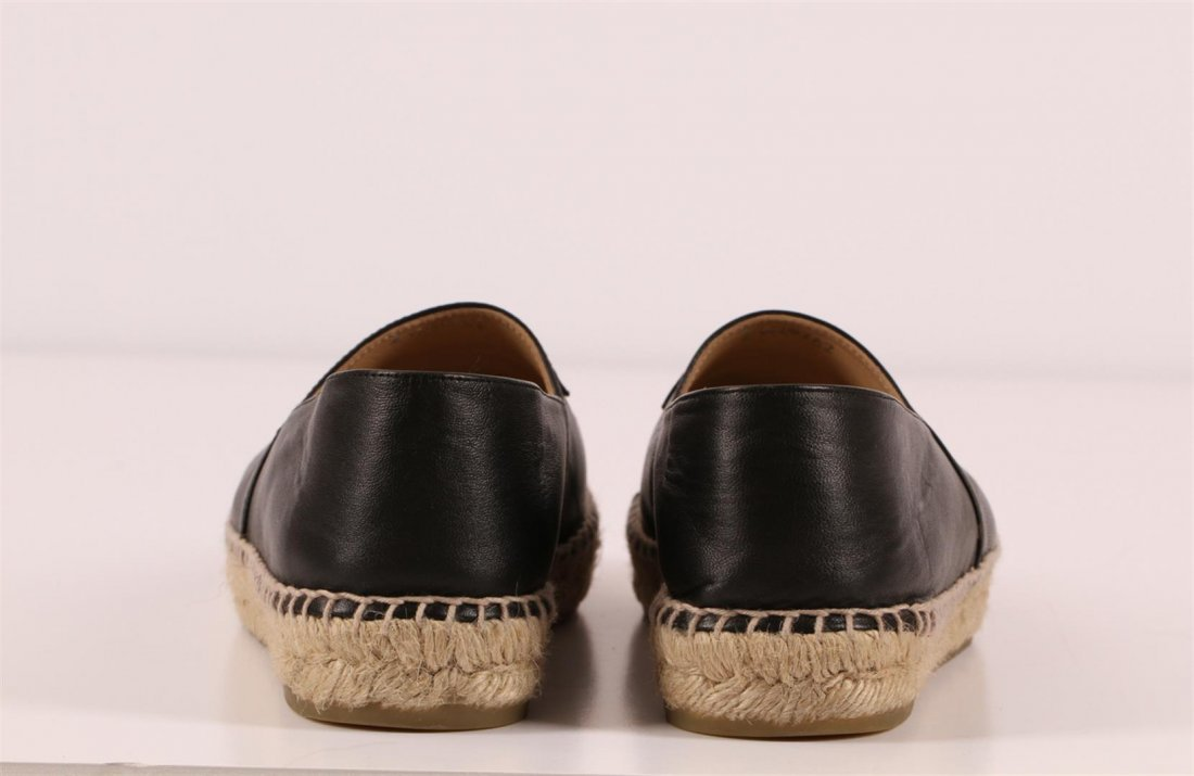 Authentic Chanel Espadrilles Flat Shoes Black Lambskin - 5