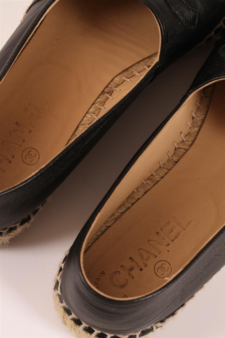 Authentic Chanel Espadrilles Flat Shoes Black Lambskin - 6