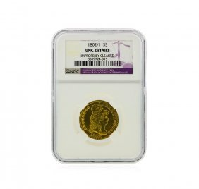 1802/1 $5 Heraldic Eagle Reverse Gold Coin Ngc Graded