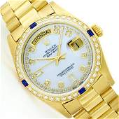 Mens Rolex 18K Yellow Gold Diamond And Sapphire