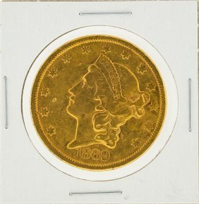 1869-s $20 Liberty Head Double Eagle Type 2 Gold Coin