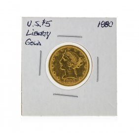 1880 $5 Liberty Head Half Eagle Gold Coin
