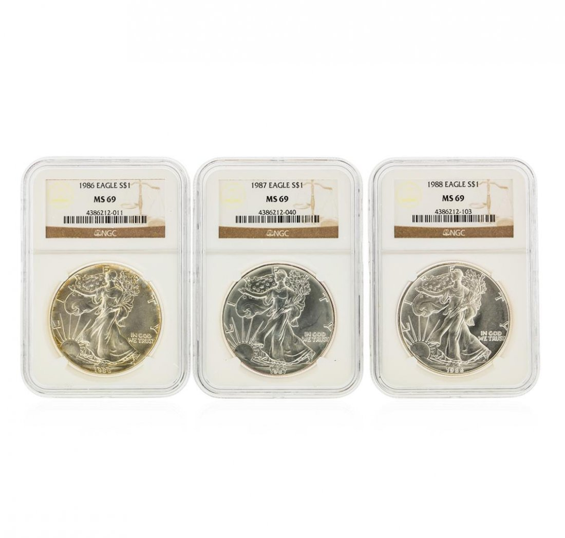 Set of (3) 1986-1988 $1 Silver Eagle Coins NGC Graded