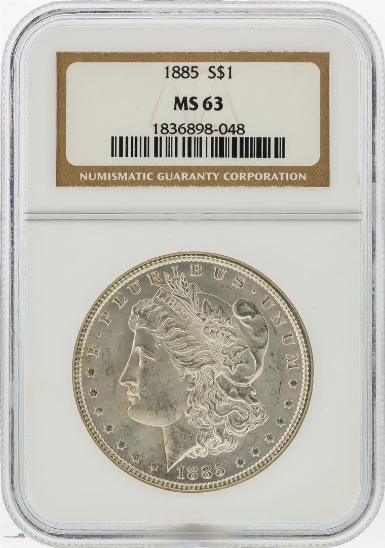 1885 $1 Morgan Silver Dollar NGC Graded MS63