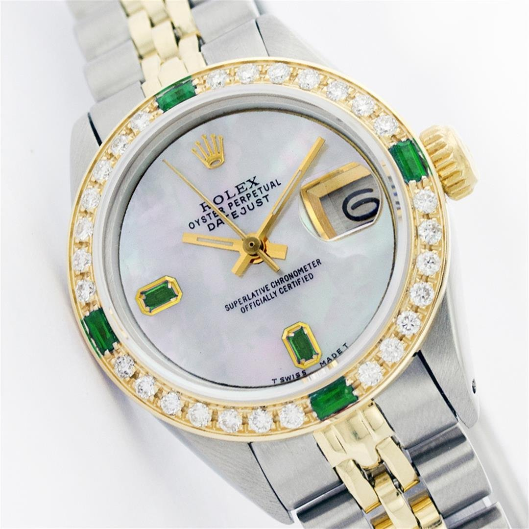Womens Rolex Two-Tone Baguette Emerald DateJust