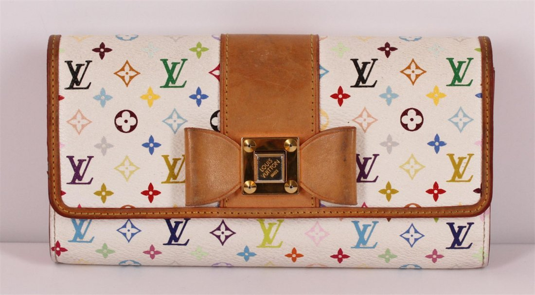 Authentic Louis Vuitton White Multicolor Monogram Bow