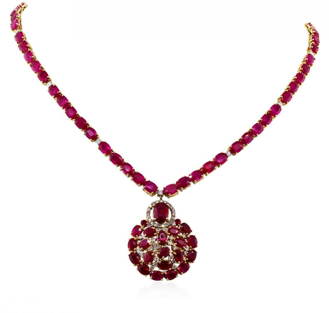 14KT Yellow Gold 70.16ctw Ruby and Diamond Necklace