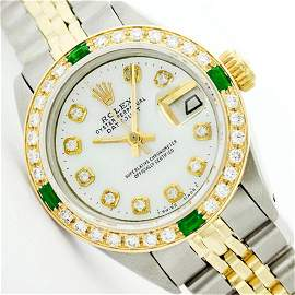 Womens Rolex Two-Tone Mother Of Pearl Diamond Datejust