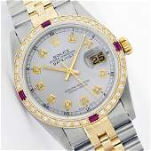 Mens Rolex Two Tone Ruby and Diamond Datejust
