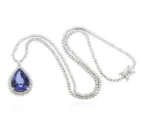 14KT White Gold 11.55ct GIA Certified Tanzanite and