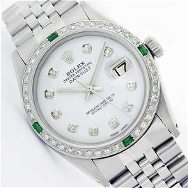 Mens Rolex Stainless Steel Diamond and Emerald Datejust