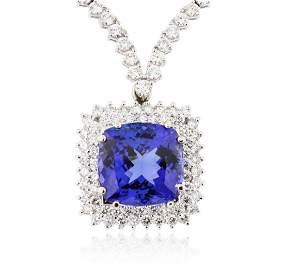 18KT White Gold 12.86ct Tanzanite and Diamond Necklace