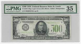1934 $500 Federal Reserve Note St. Louis Light Green