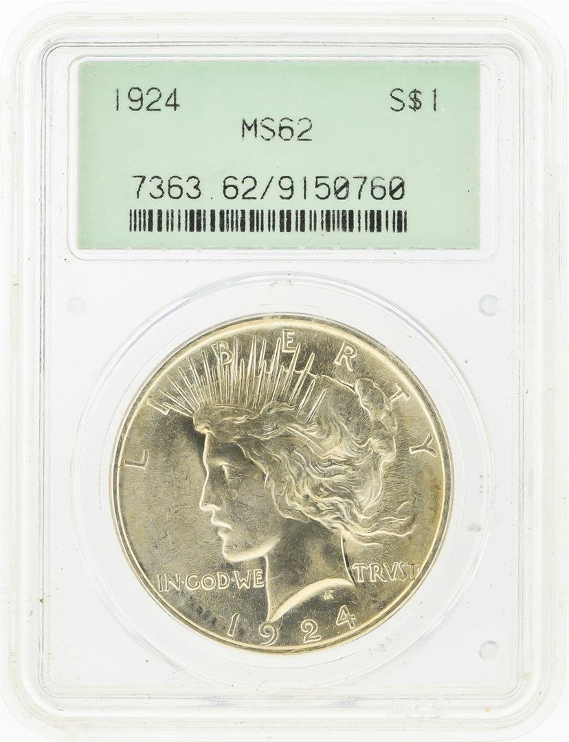 1924 $1 Peace Silver Dollar PCGS MS62