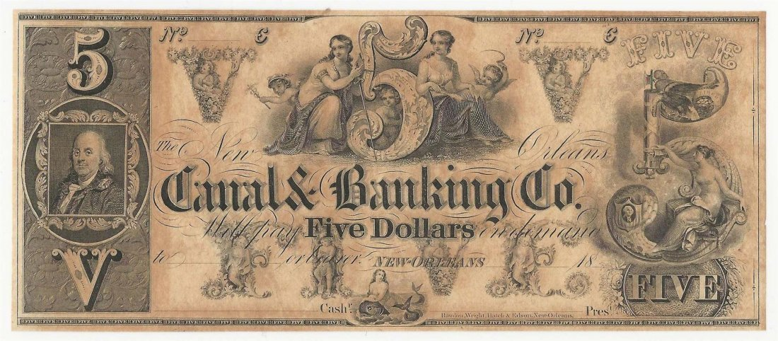 1800s $5 The New Orleans Canal & Banking Company Note