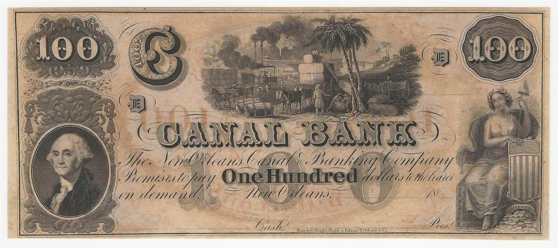 1800s $100 The New Orleans Canal & Banking Company Note
