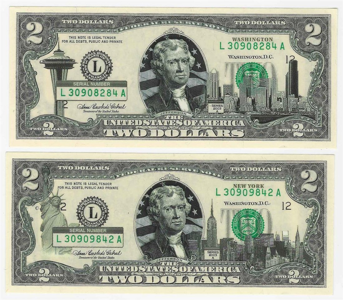 Set of (2) 2003A $2 New York Federal Reserve Notes
