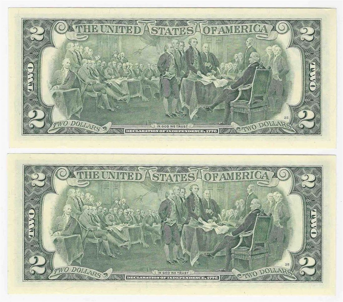 Set of (2) 2003A $2 New York Federal Reserve Notes - 2
