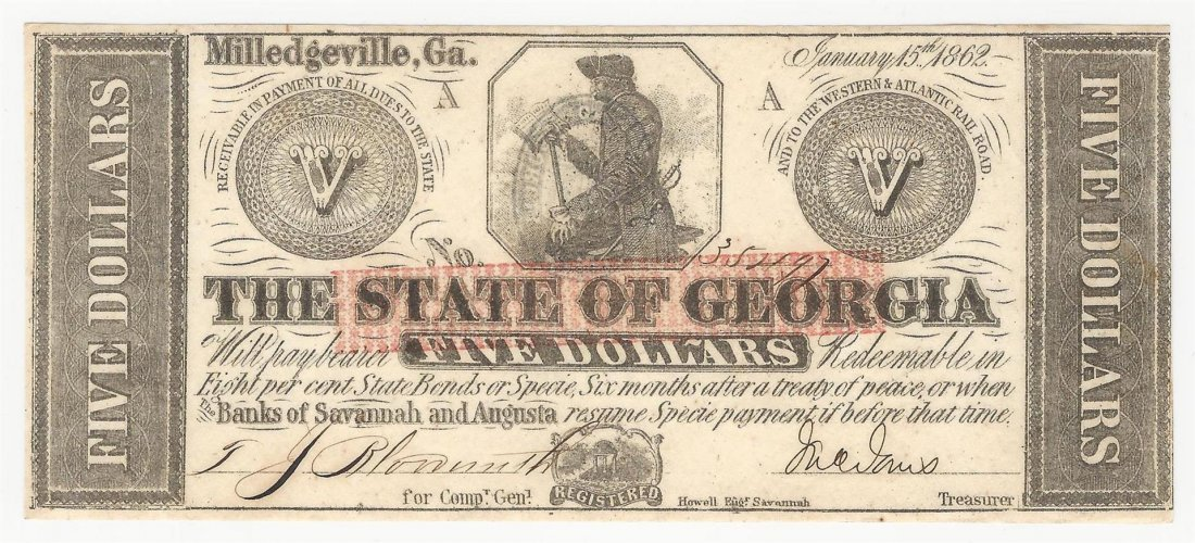 1862 $5 The State of Georgia Milledgeville Note