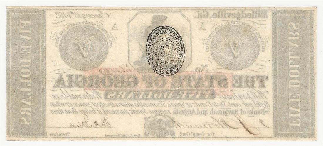 1862 $5 The State of Georgia Milledgeville Note - 2