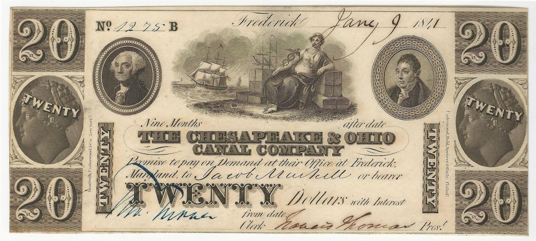 1841 $20 The Chesapeake & Ohio Canal Company Obsolete
