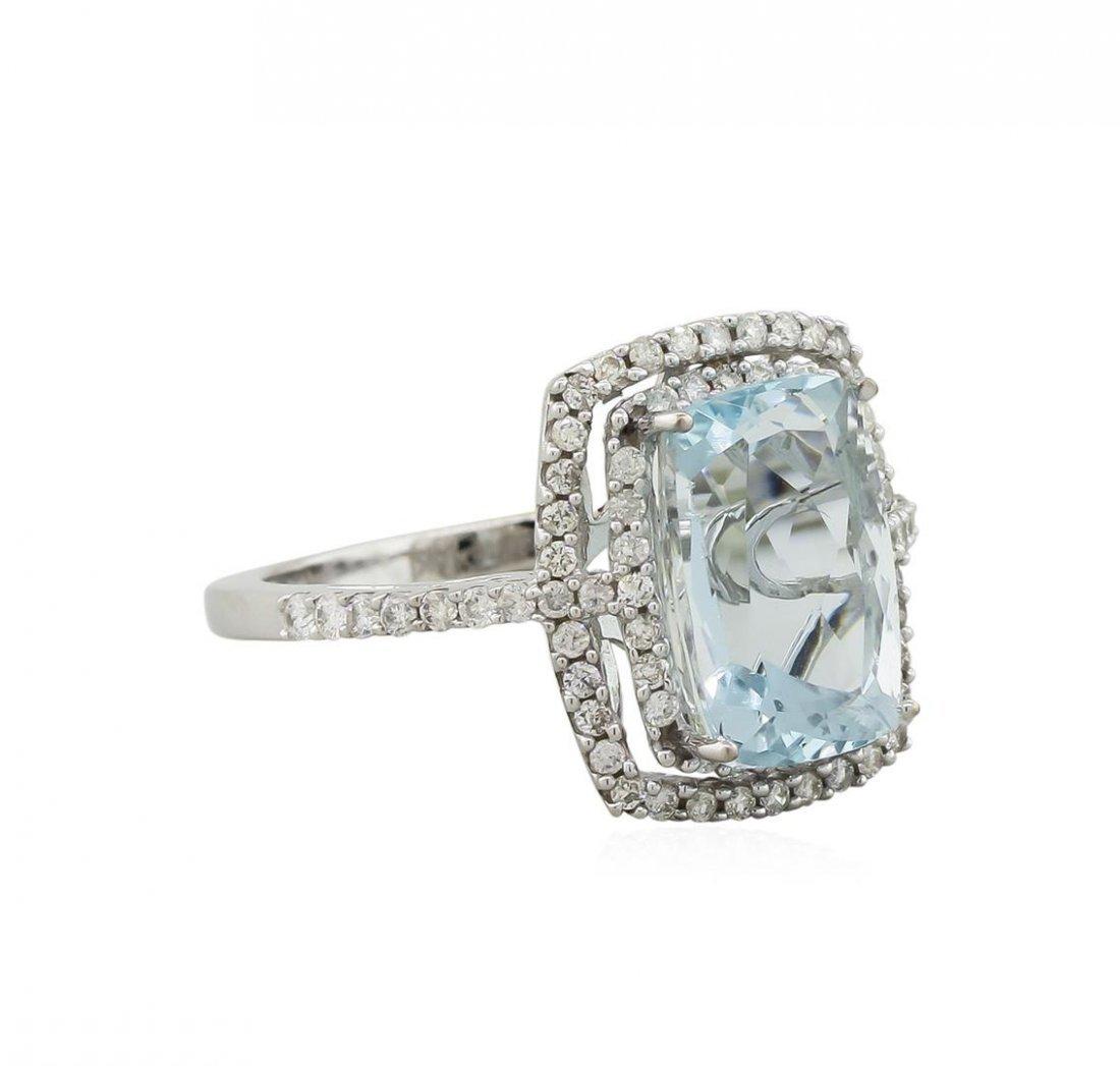 14KT White Gold 3.95ct Aquamarine and Diamond Ring