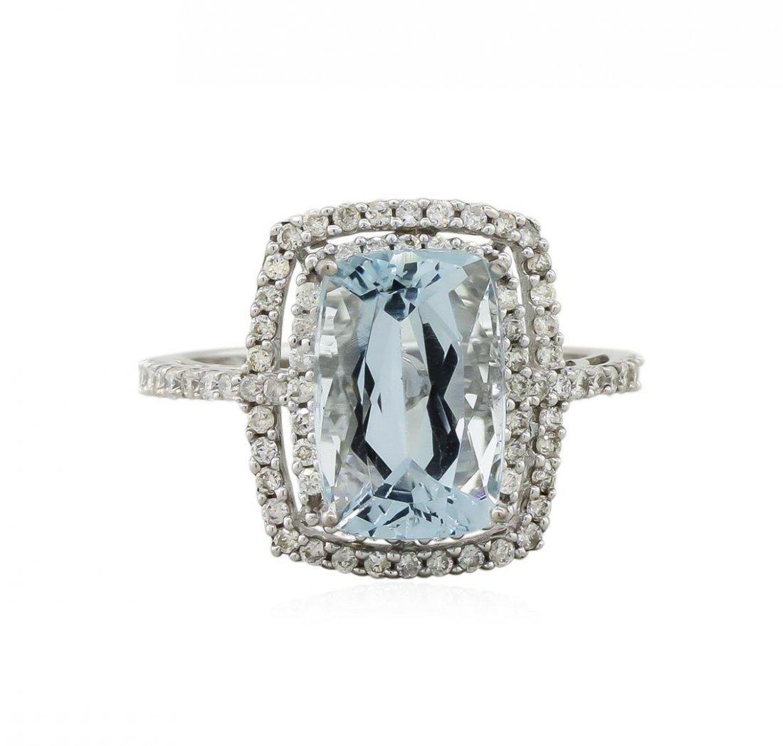 14KT White Gold 3.95ct Aquamarine and Diamond Ring - 2
