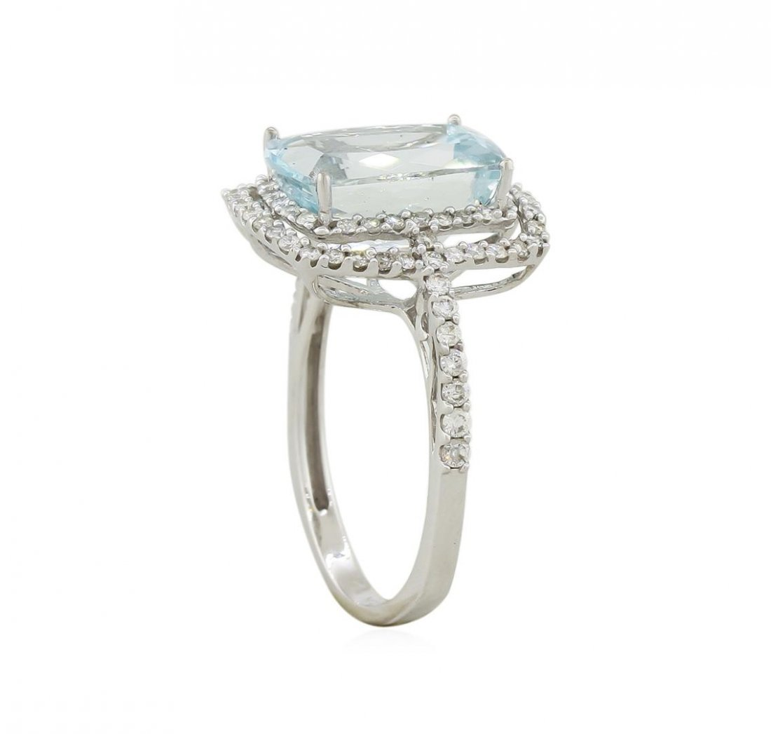 14KT White Gold 3.95ct Aquamarine and Diamond Ring - 3
