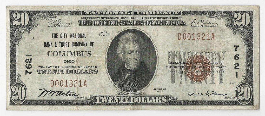 1929 $20 Columbus Ohio National Currency Note