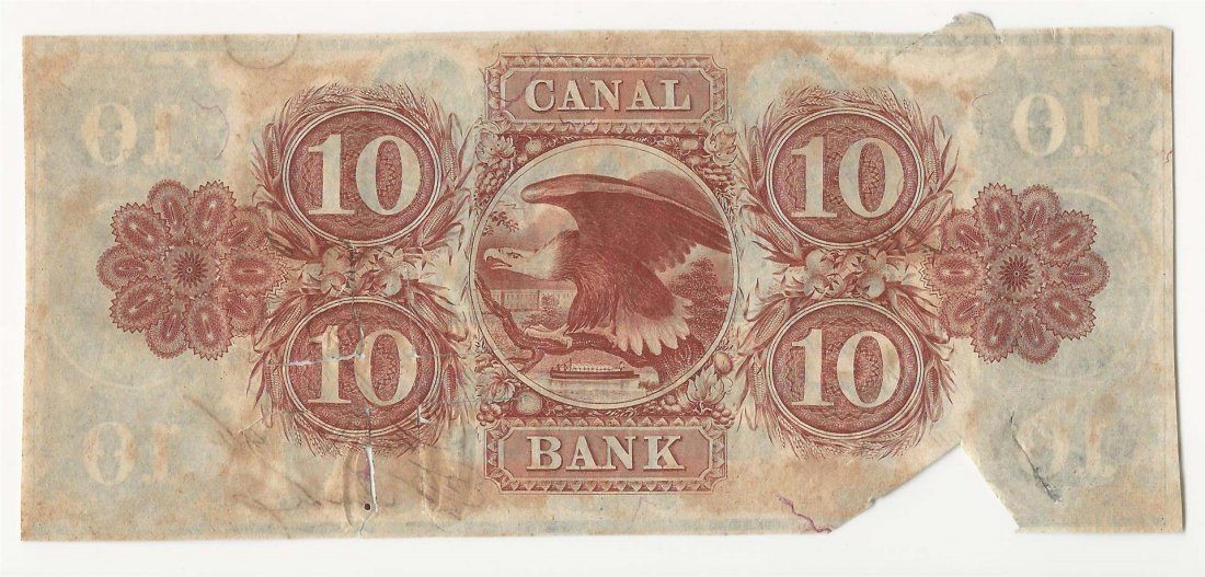 1846 $10 Canal Bank New Orleans Obsolete Bank Note - 2
